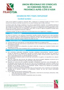 CV sur pied UP Exigences PEFC